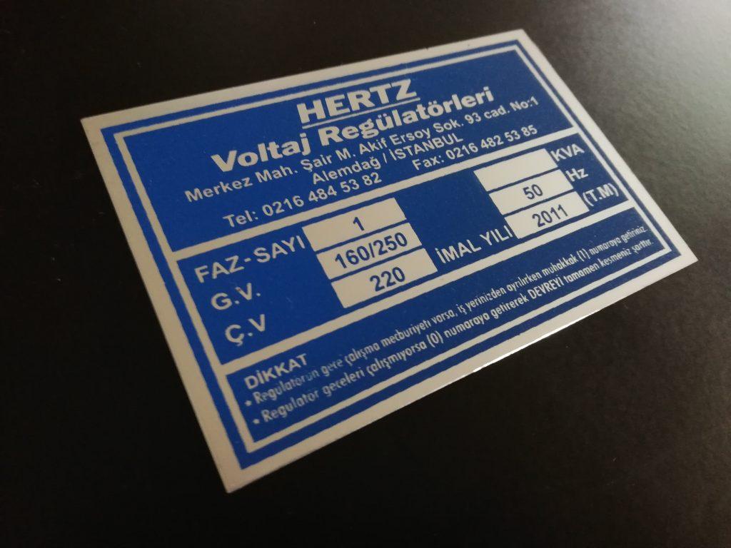 Baskılı Alüminyum Etiket